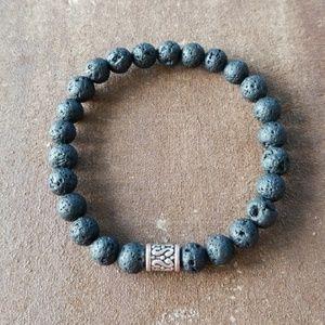 Other - Men's Black Lava Stone Bracelet